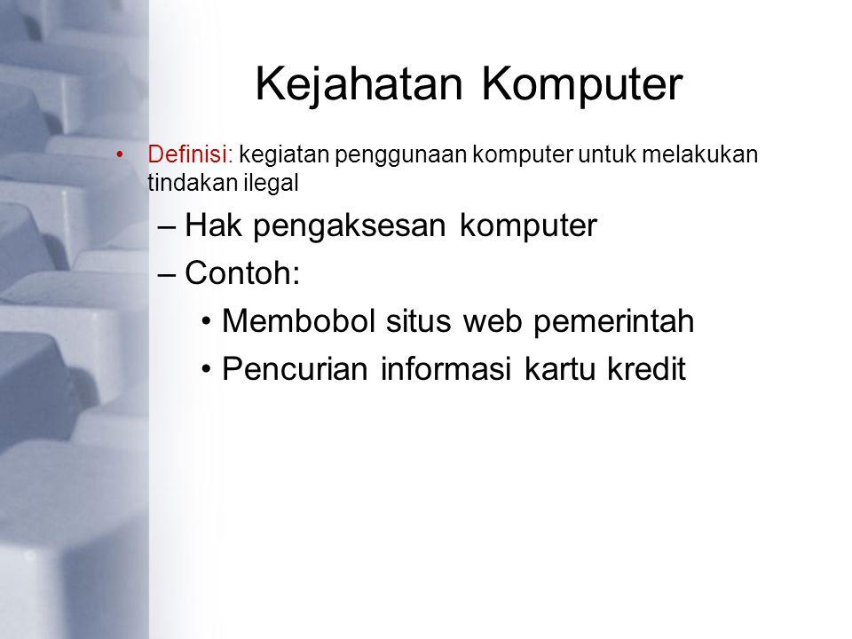 Kejahatan Komputer Hak pengaksesan komputer Contoh: