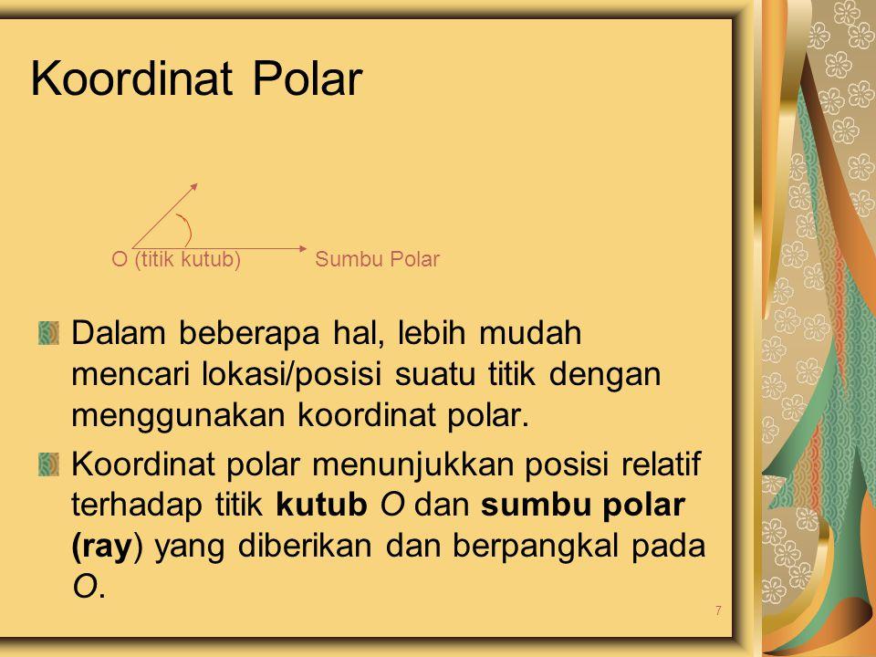 Koordinat Polar O (titik kutub) Sumbu Polar.
