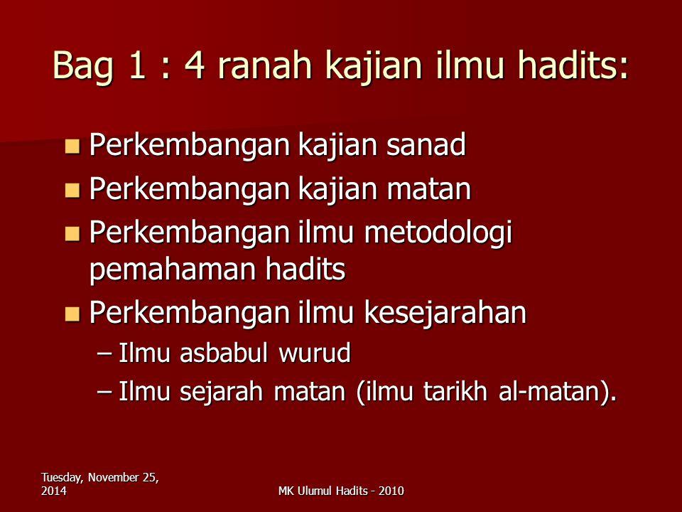 Bag 1 : 4 ranah kajian ilmu hadits: