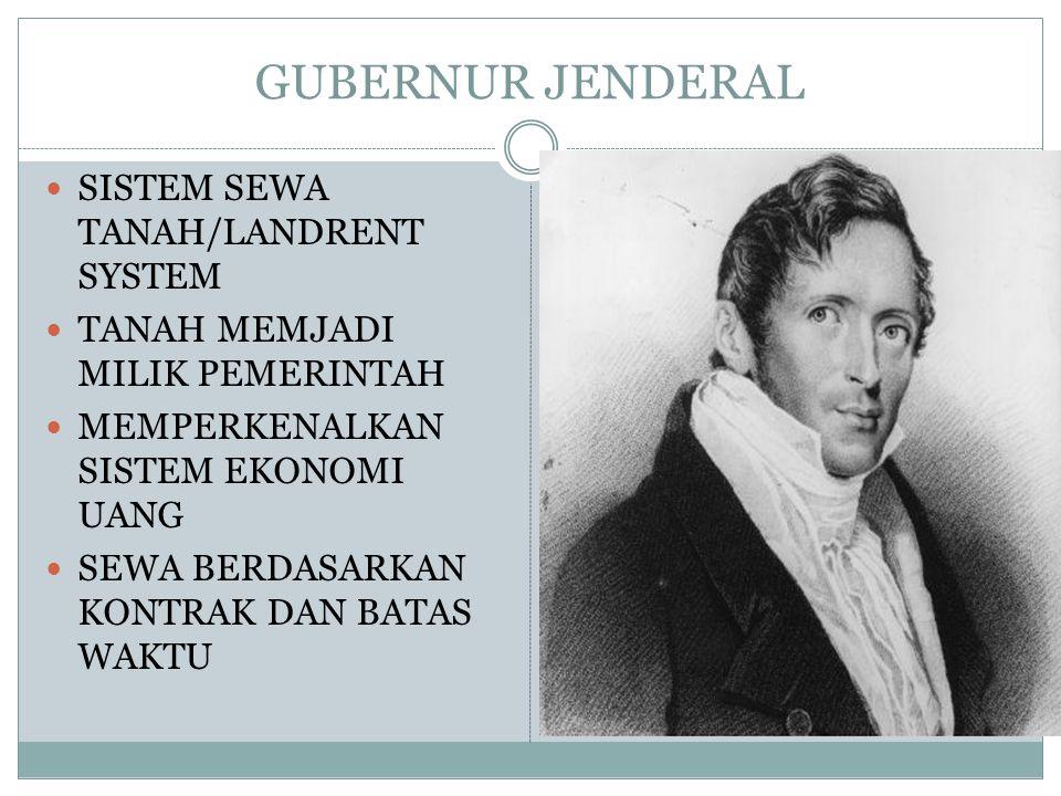 GUBERNUR JENDERAL SISTEM SEWA TANAH/LANDRENT SYSTEM