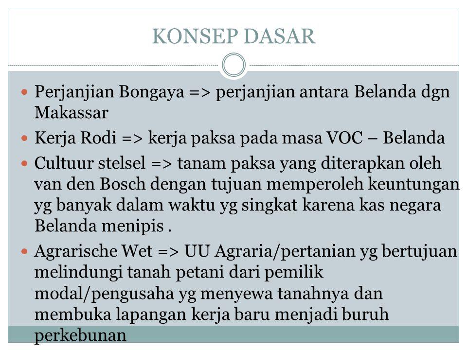 KONSEP DASAR Perjanjian Bongaya => perjanjian antara Belanda dgn Makassar. Kerja Rodi => kerja paksa pada masa VOC – Belanda.