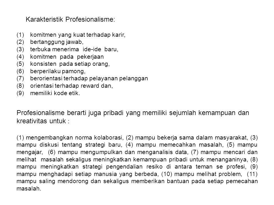 Karakteristik Profesionalisme:
