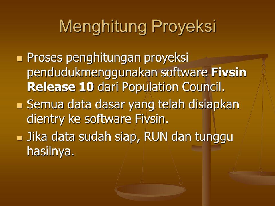 Menghitung Proyeksi Proses penghitungan proyeksi pendudukmenggunakan software Fivsin Release 10 dari Population Council.