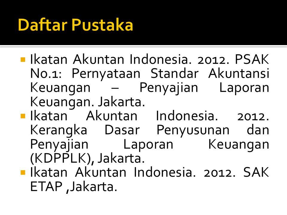 Daftar Pustaka Ikatan Akuntan Indonesia. 2012. PSAK No.1: Pernyataan Standar Akuntansi Keuangan – Penyajian Laporan Keuangan. Jakarta.
