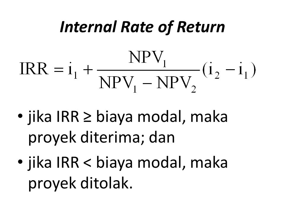 Internal Rate of Return