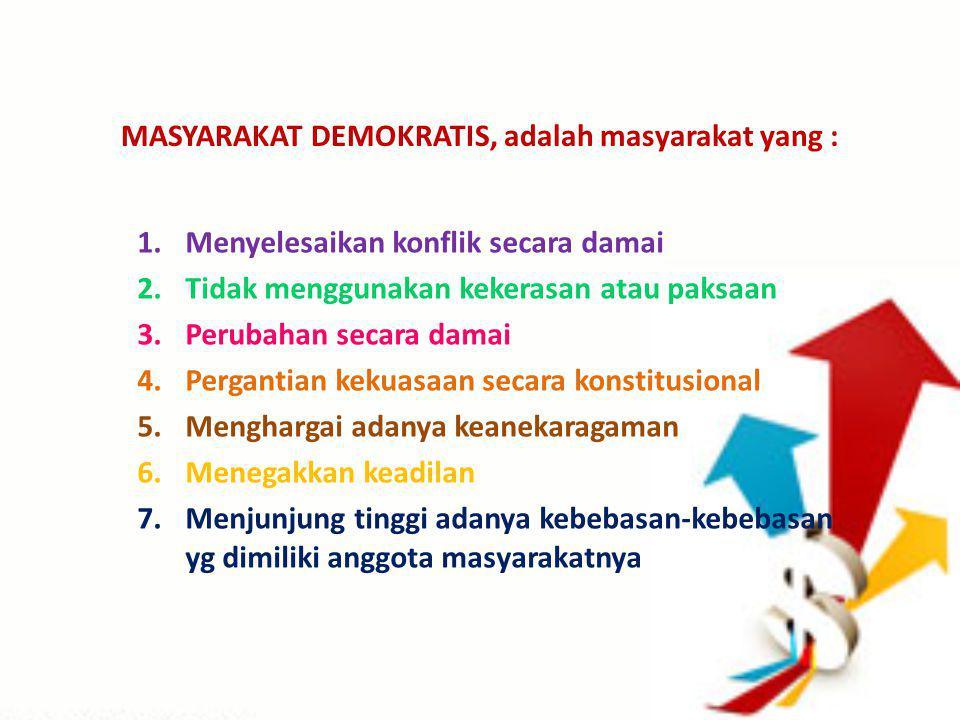 MASYARAKAT DEMOKRATIS, adalah masyarakat yang :