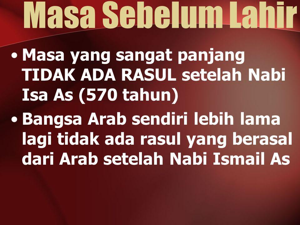 Masa Sebelum Lahir Masa yang sangat panjang TIDAK ADA RASUL setelah Nabi Isa As (570 tahun)