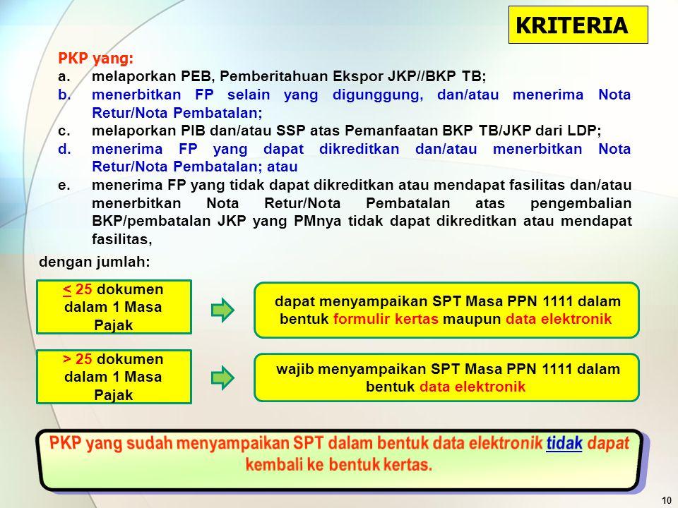 KRITERIA PKP yang: melaporkan PEB, Pemberitahuan Ekspor JKP//BKP TB;