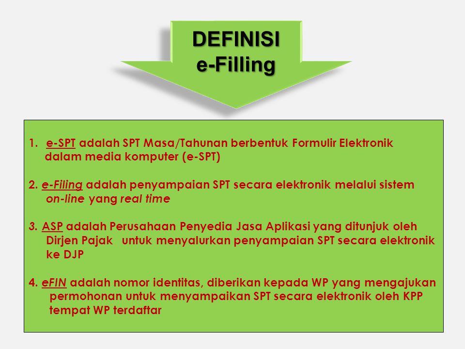 DEFINISI e-Filling. e-SPT adalah SPT Masa/Tahunan berbentuk Formulir Elektronik. dalam media komputer (e-SPT)