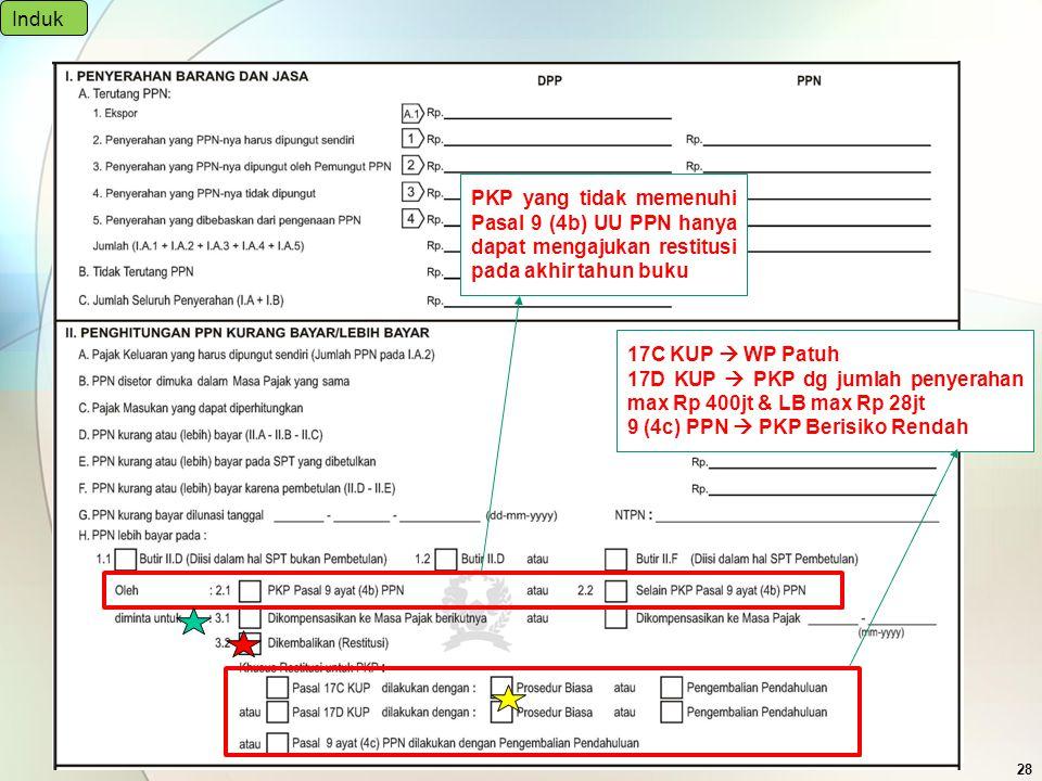 Induk PKP yang tidak memenuhi Pasal 9 (4b) UU PPN hanya dapat mengajukan restitusi pada akhir tahun buku.
