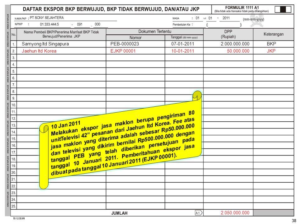 Samyong ltd Singapura PEB-0000023. 07-01-2011. 2.000.000.000. BKP. Jaehun ltd Korea. EJKP 00001.