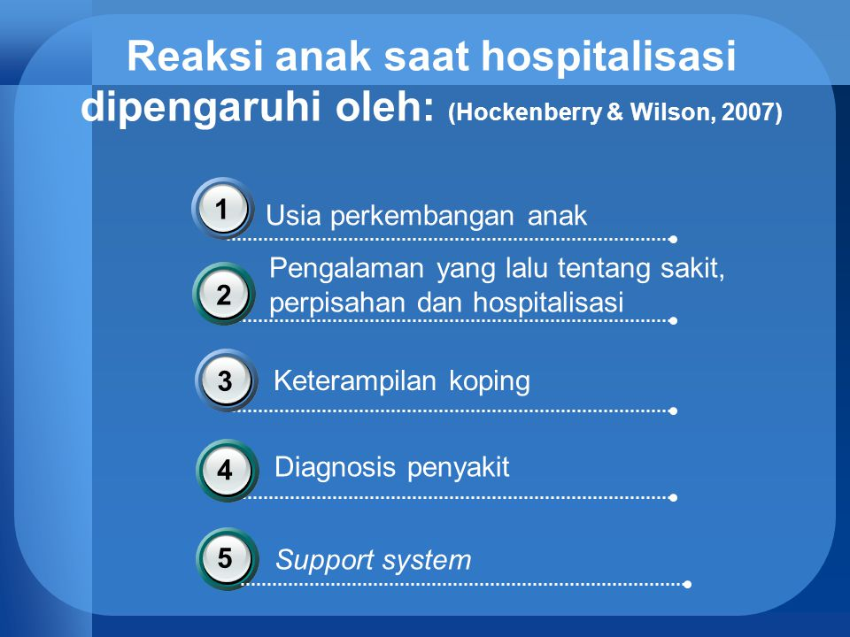 Reaksi anak saat hospitalisasi dipengaruhi oleh: (Hockenberry & Wilson, 2007)