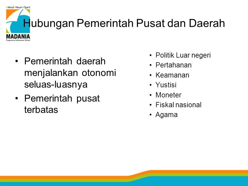 Hubungan Pemerintah Pusat dan Daerah