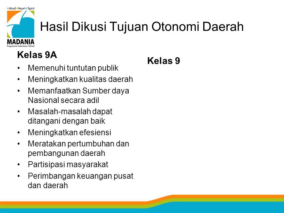 Hasil Dikusi Tujuan Otonomi Daerah