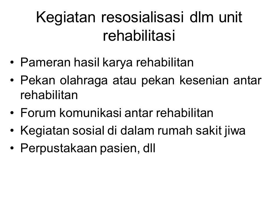 Kegiatan resosialisasi dlm unit rehabilitasi