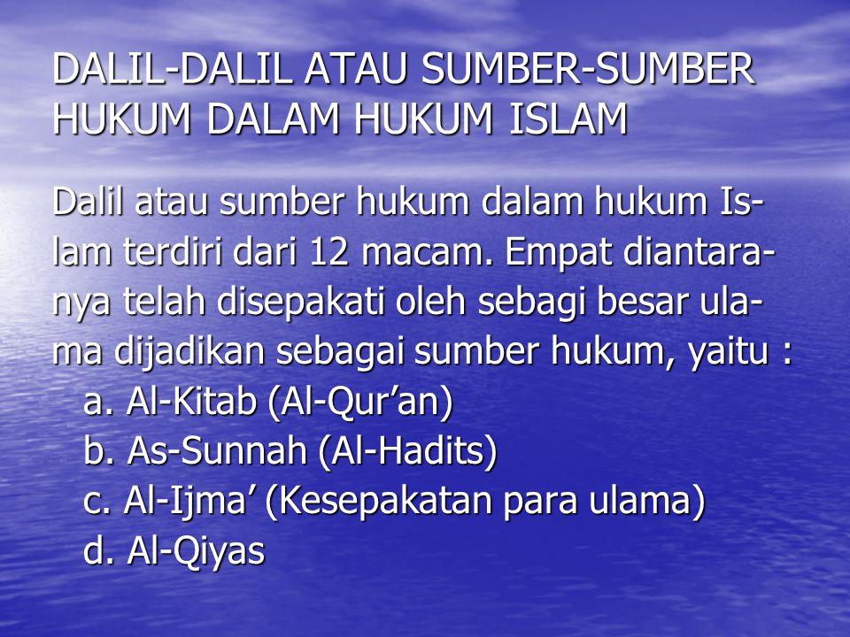 DALIL-DALIL ATAU SUMBER-SUMBER HUKUM DALAM HUKUM ISLAM