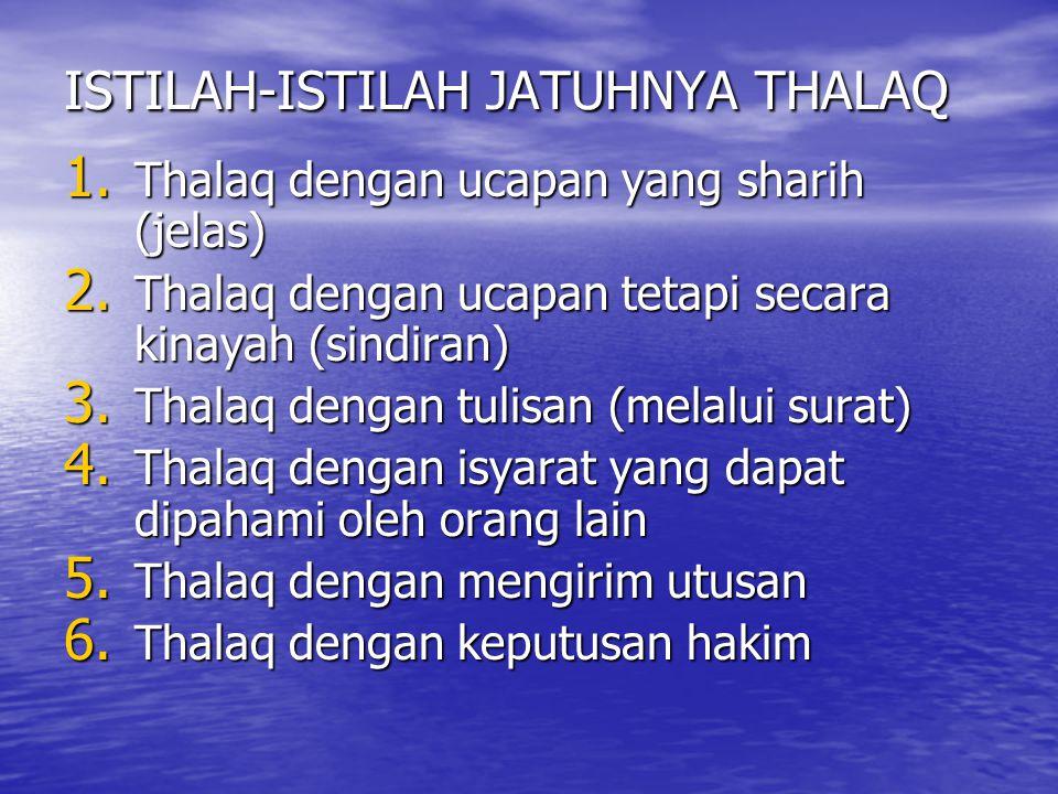 ISTILAH-ISTILAH JATUHNYA THALAQ