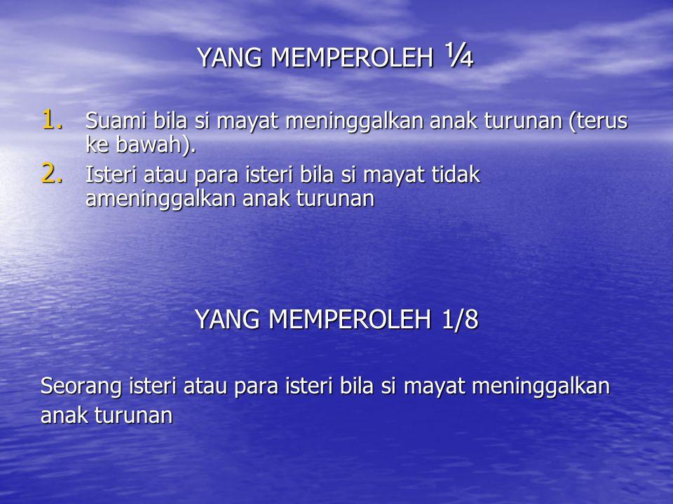 YANG MEMPEROLEH ¼ YANG MEMPEROLEH 1/8