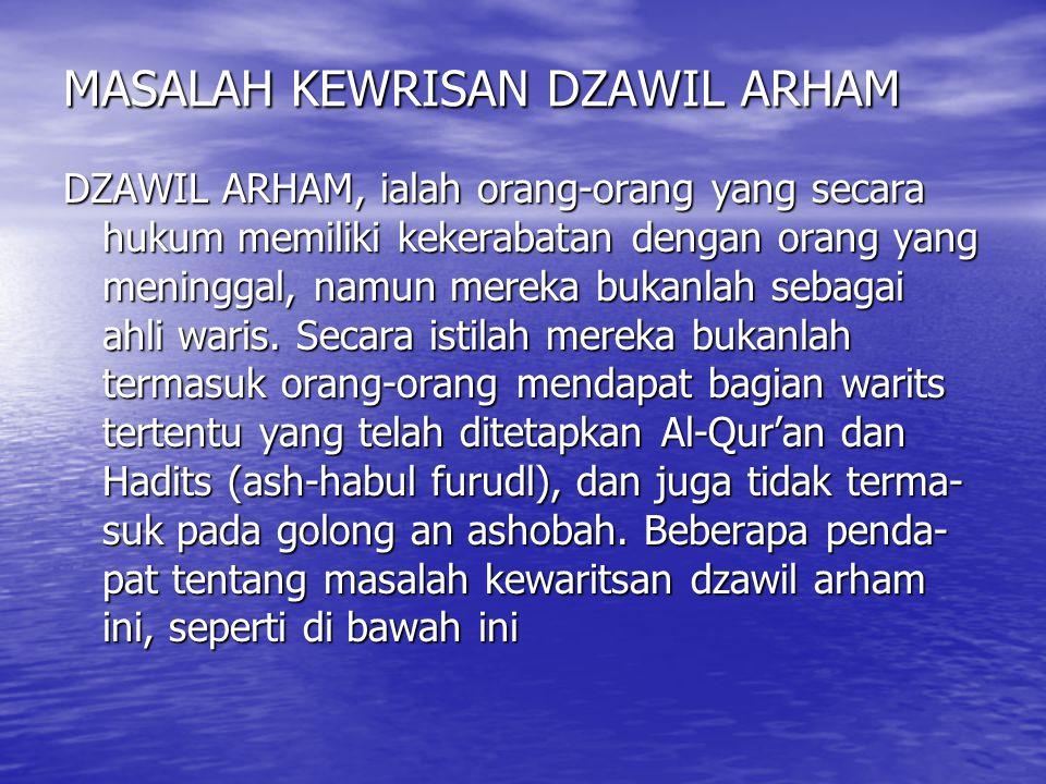 MASALAH KEWRISAN DZAWIL ARHAM