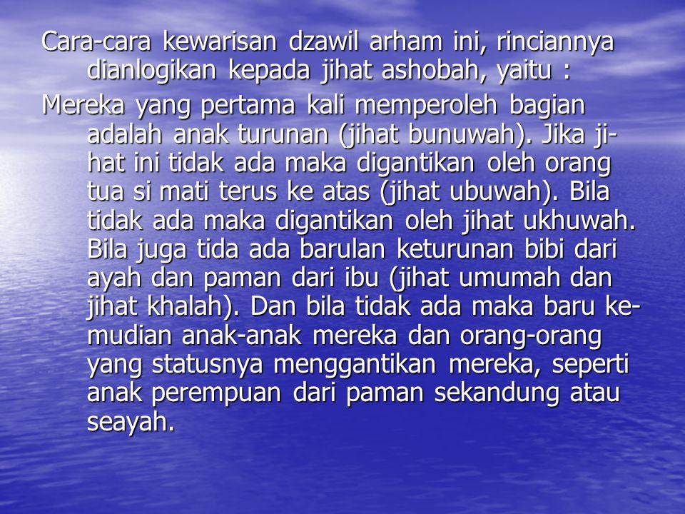 Cara-cara kewarisan dzawil arham ini, rinciannya dianlogikan kepada jihat ashobah, yaitu :
