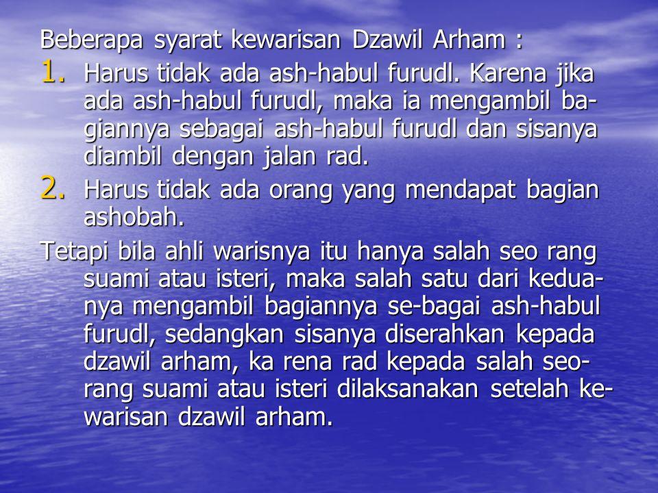 Beberapa syarat kewarisan Dzawil Arham :