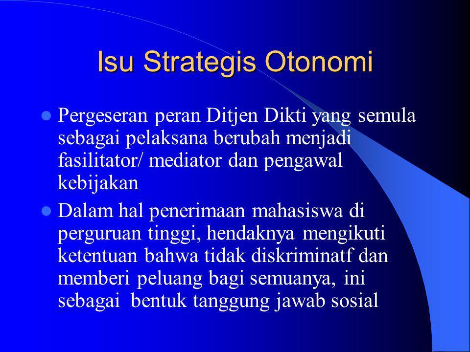 Isu Strategis Otonomi Pergeseran peran Ditjen Dikti yang semula sebagai pelaksana berubah menjadi fasilitator/ mediator dan pengawal kebijakan.