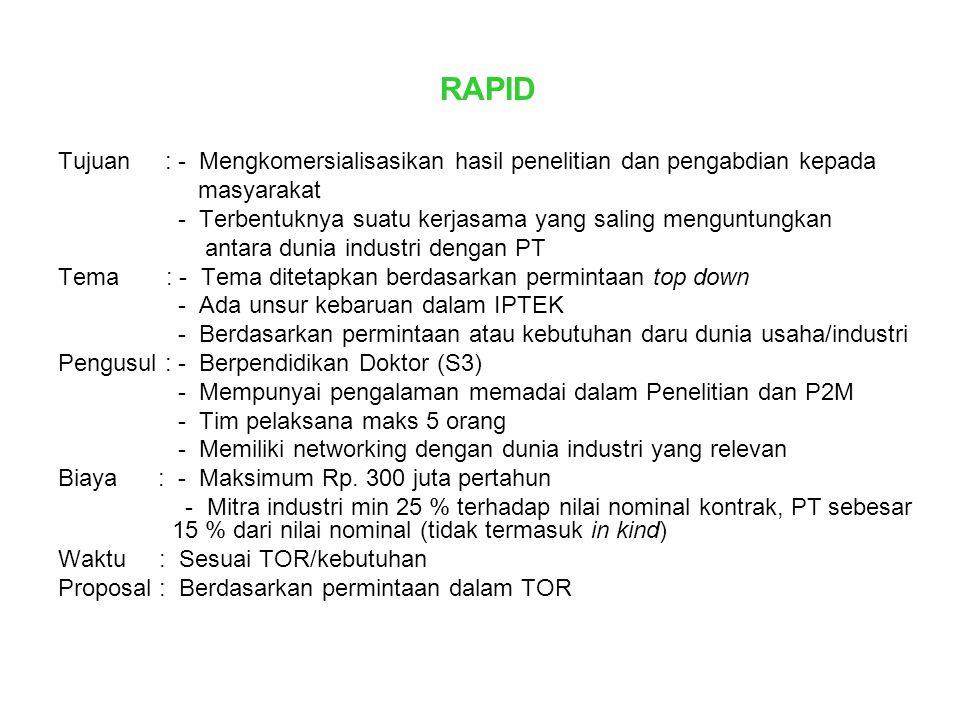 RAPID Tujuan : - Mengkomersialisasikan hasil penelitian dan pengabdian kepada. masyarakat.