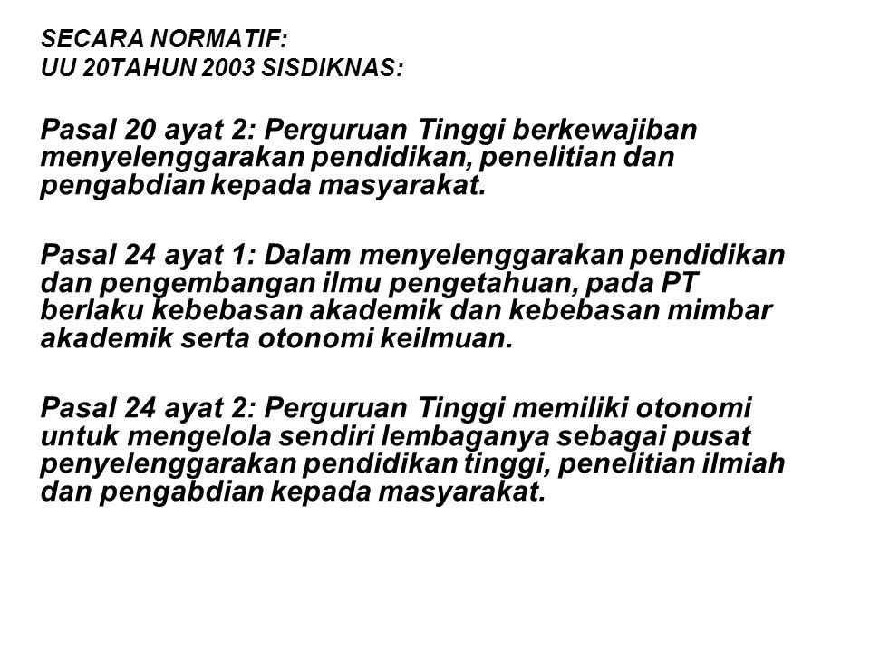 SECARA NORMATIF: UU 20TAHUN 2003 SISDIKNAS: