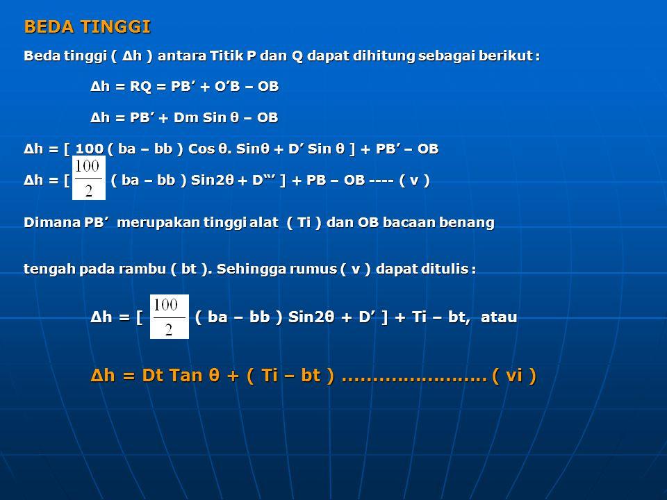 BEDA TINGGI Beda tinggi ( Δh ) antara Titik P dan Q dapat dihitung sebagai berikut : Δh = RQ = PB' + O'B – OB.
