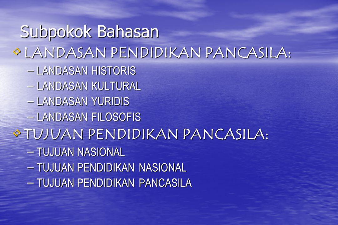 Subpokok Bahasan LANDASAN PENDIDIKAN PANCASILA: