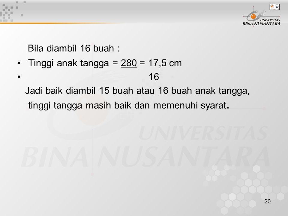 Bila diambil 16 buah : Tinggi anak tangga = 280 = 17,5 cm 16