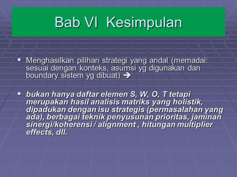Bab VI Kesimpulan Menghasilkan pilihan strategi yang andal (memadai: sesuai dengan konteks, asumsi yg digunakan dan boundary sistem yg dibuat) 