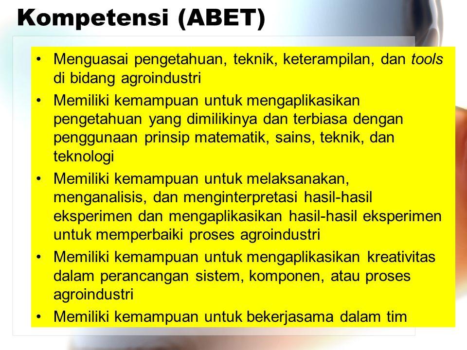 Kompetensi (ABET) Menguasai pengetahuan, teknik, keterampilan, dan tools di bidang agroindustri.