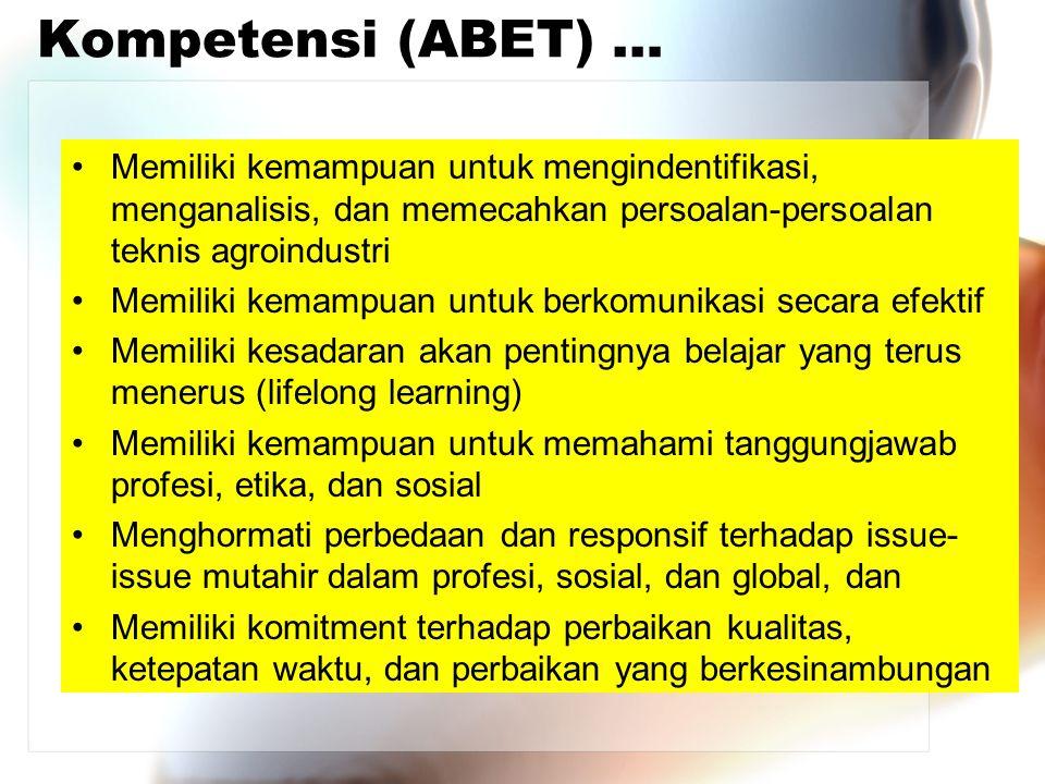 Kompetensi (ABET) … Memiliki kemampuan untuk mengindentifikasi, menganalisis, dan memecahkan persoalan-persoalan teknis agroindustri.