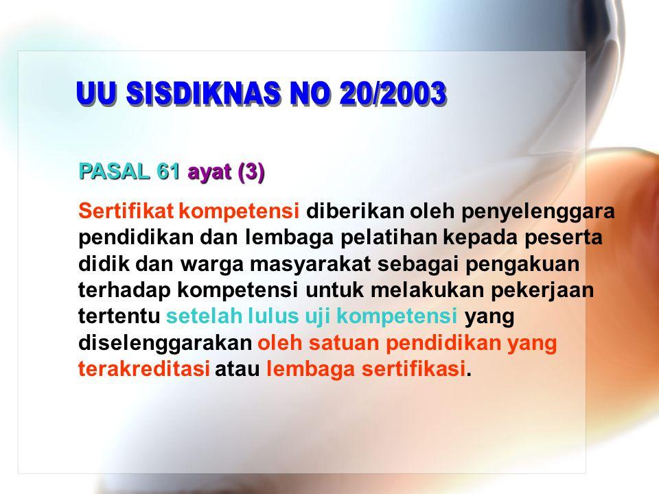 UU SISDIKNAS NO 20/2003 PASAL 61 ayat (3)