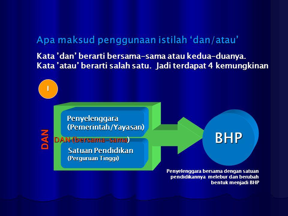 BHP Apa maksud penggunaan istilah 'dan/atau' DAN