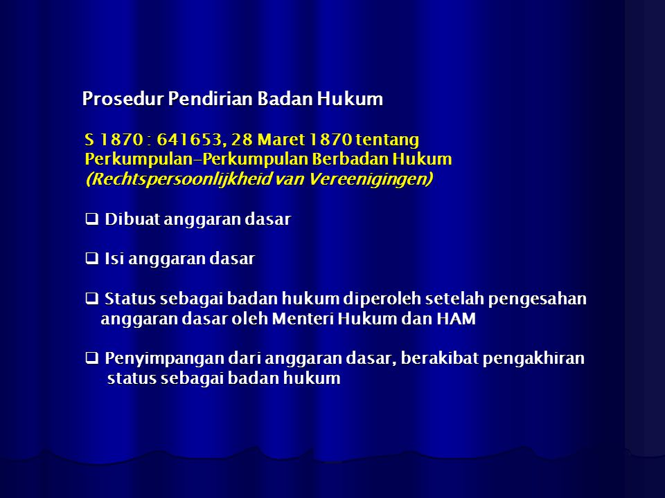Prosedur Pendirian Badan Hukum