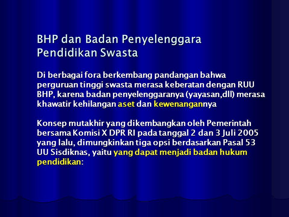 BHP dan Badan Penyelenggara Pendidikan Swasta