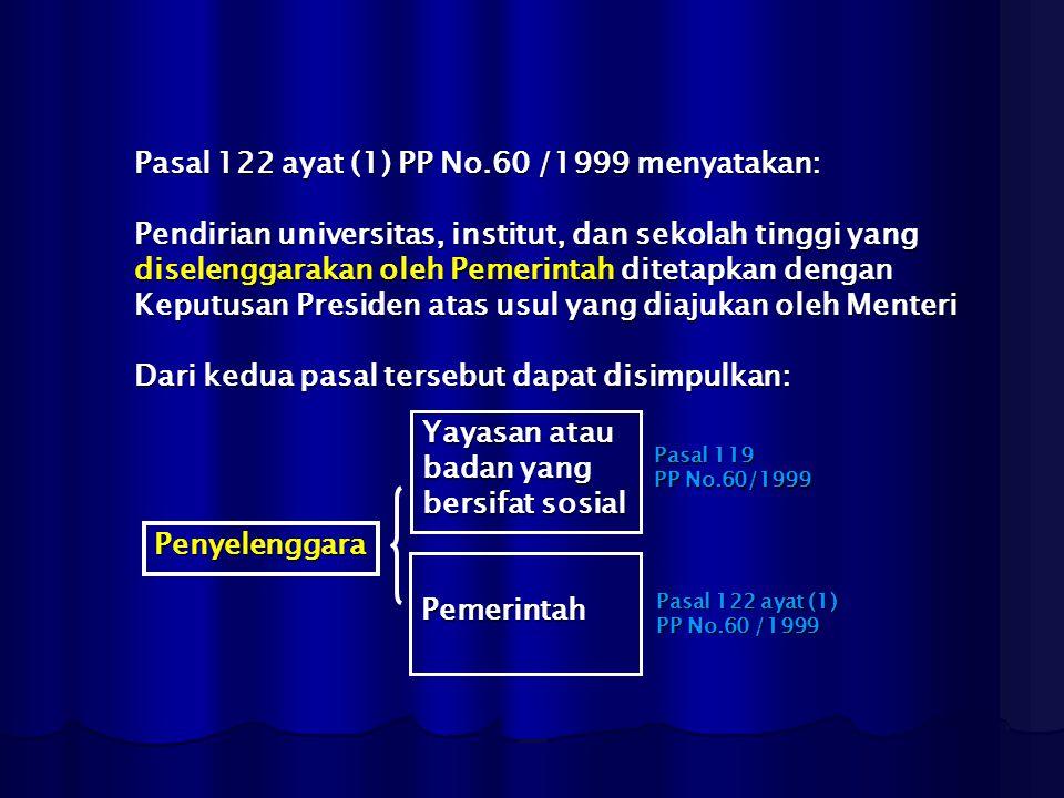 Pasal 122 ayat (1) PP No.60 /1999 menyatakan: