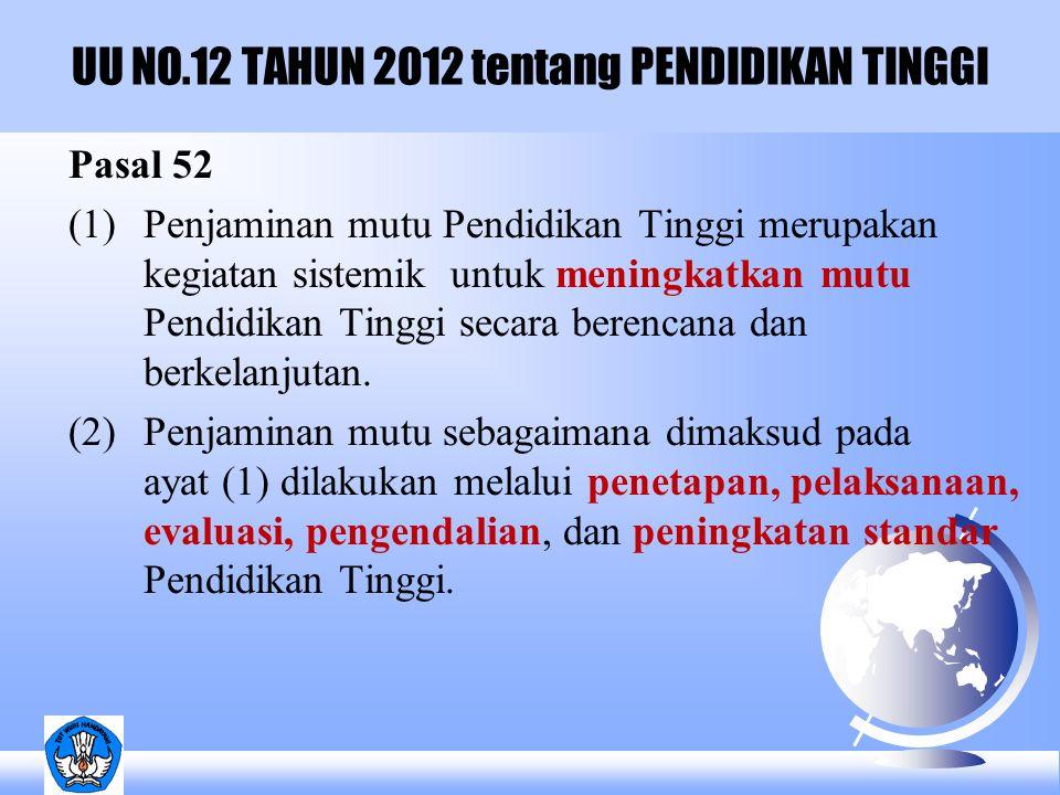 UU NO.12 TAHUN 2012 tentang PENDIDIKAN TINGGI