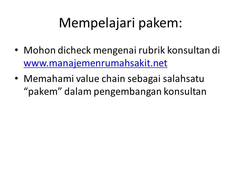 Mempelajari pakem: Mohon dicheck mengenai rubrik konsultan di www.manajemenrumahsakit.net.