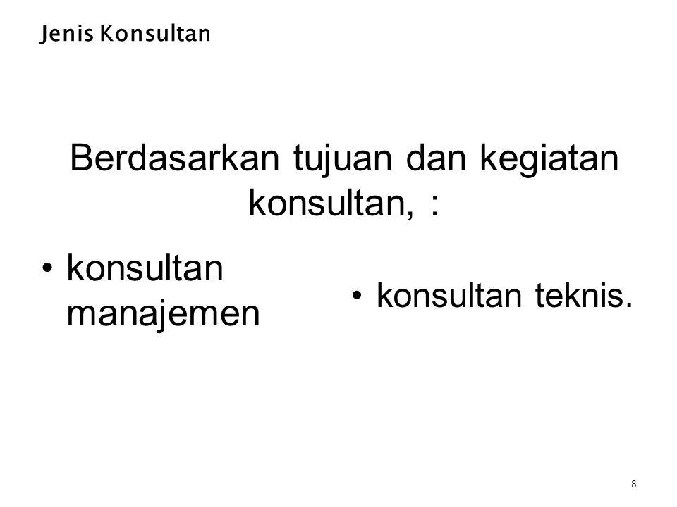 Berdasarkan tujuan dan kegiatan konsultan, :