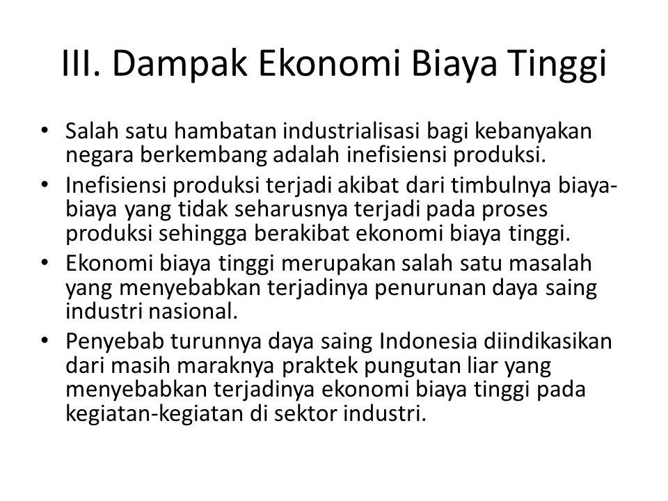 III. Dampak Ekonomi Biaya Tinggi