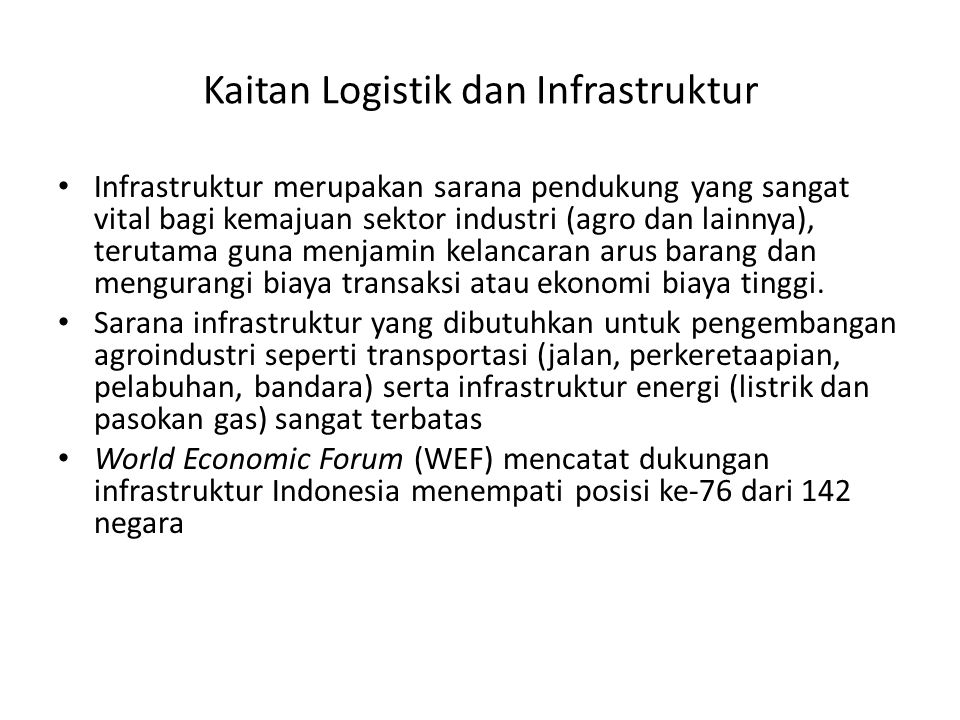 Kaitan Logistik dan Infrastruktur