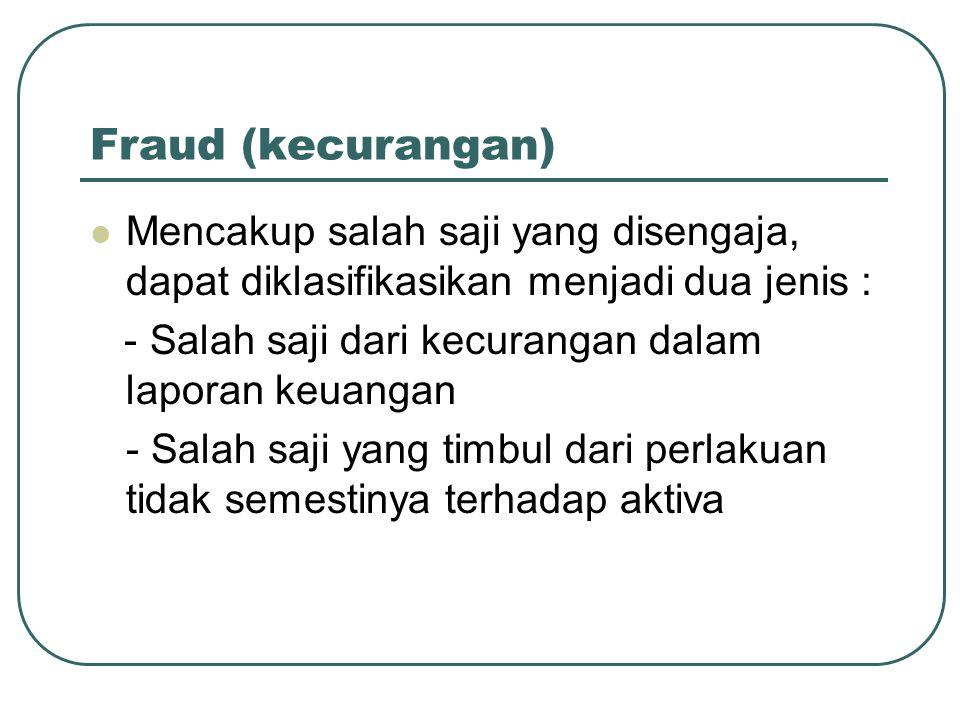 Fraud (kecurangan) Mencakup salah saji yang disengaja, dapat diklasifikasikan menjadi dua jenis :