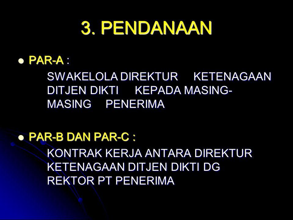 3. PENDANAAN PAR-A : SWAKELOLA DIREKTUR KETENAGAAN DITJEN DIKTI KEPADA MASING- MASING PENERIMA.