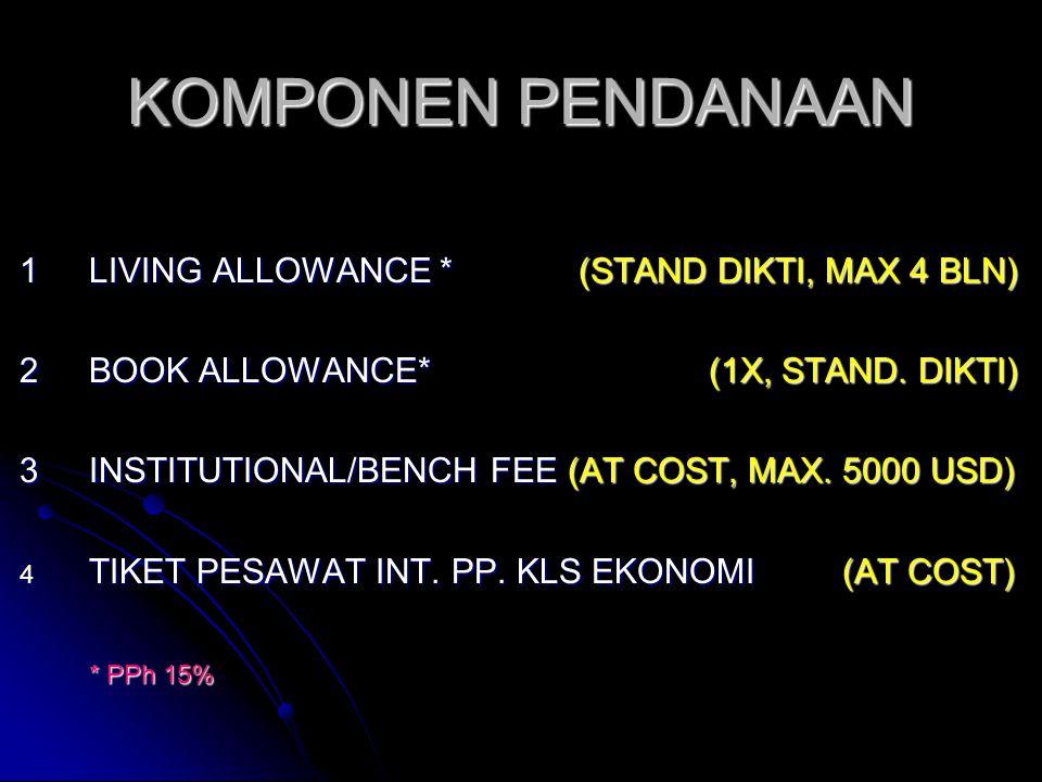KOMPONEN PENDANAAN 1 LIVING ALLOWANCE * (STAND DIKTI, MAX 4 BLN)