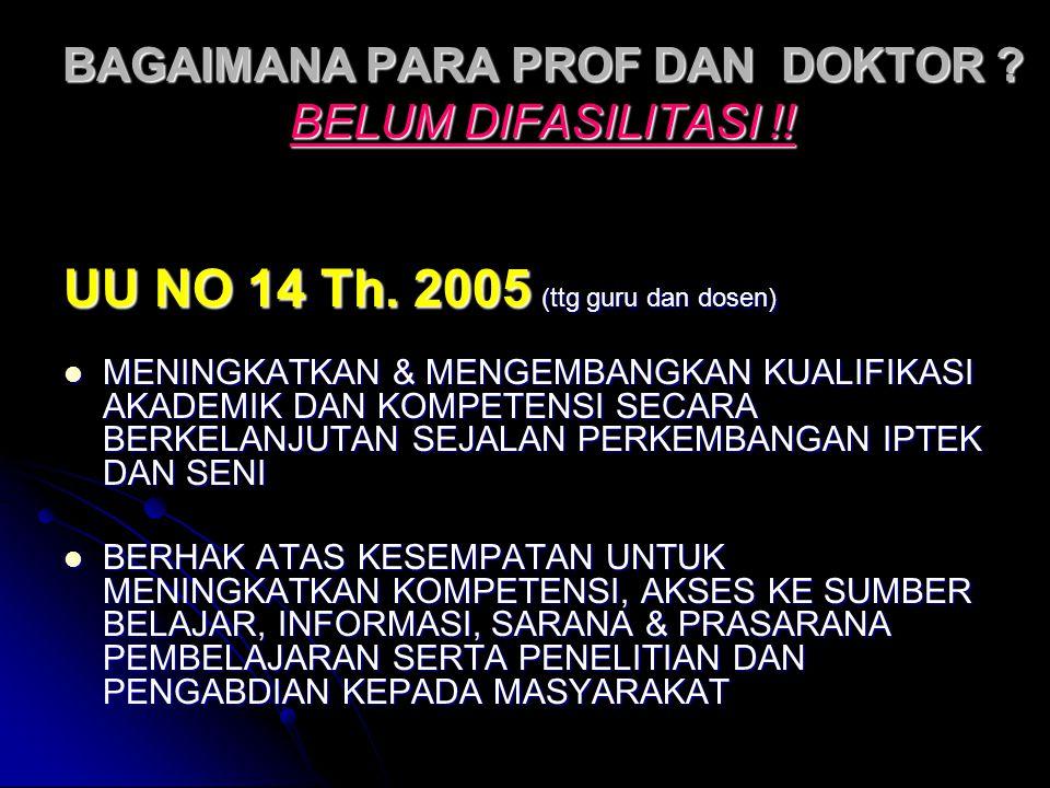 BAGAIMANA PARA PROF DAN DOKTOR BELUM DIFASILITASI !!