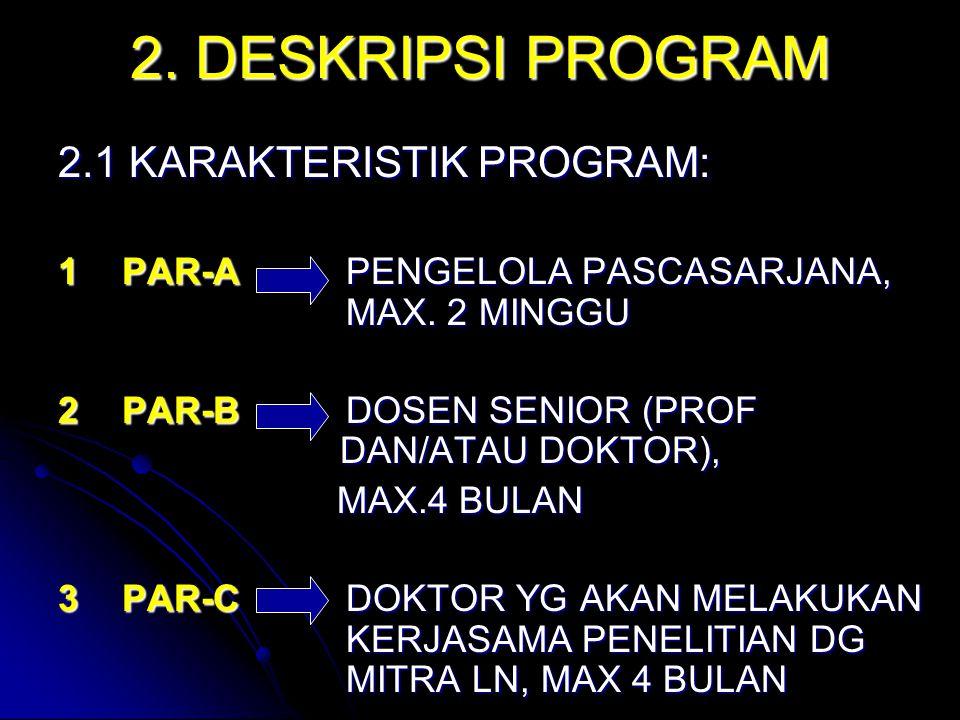 2. DESKRIPSI PROGRAM 2.1 KARAKTERISTIK PROGRAM: