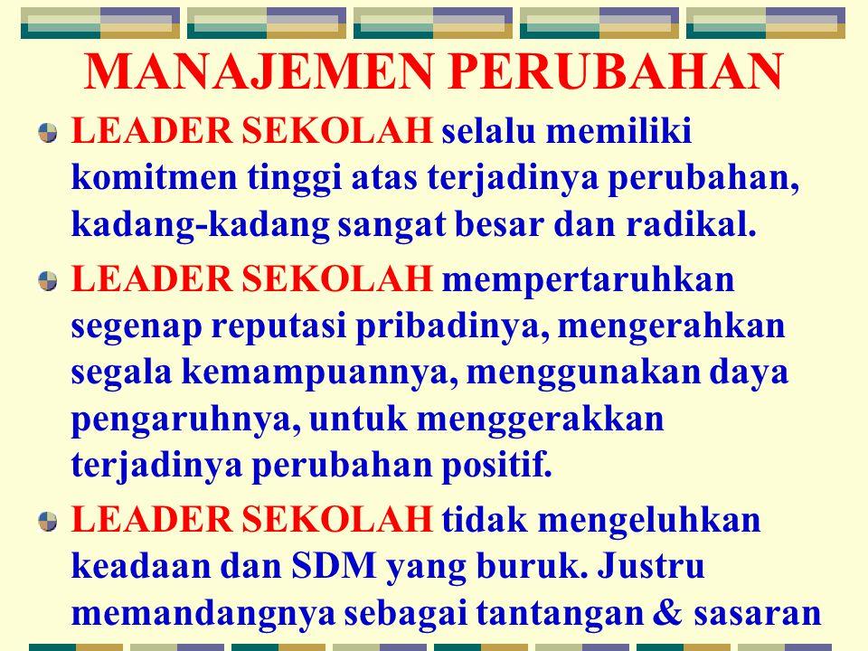 MANAJEMEN PERUBAHAN LEADER SEKOLAH selalu memiliki komitmen tinggi atas terjadinya perubahan, kadang-kadang sangat besar dan radikal.